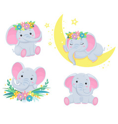 collection cute grey elephants children vector image