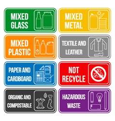 color separated waste labels vector image
