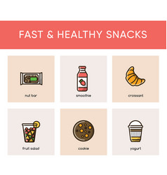 Colorful icons of fast and healthy snacks vector