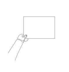 Continuous one line hand holds blank sheet vector