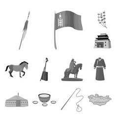 Country mongolia monochrome icons in set vector