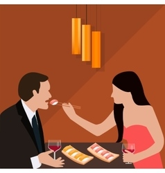 Couple dinner woman give food for man romantic vector