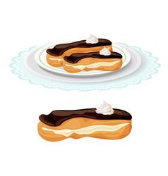 Creamy soft delicious eclair covered with vector