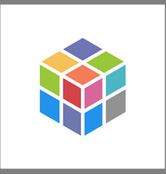 cube logo design icon colorful vector image