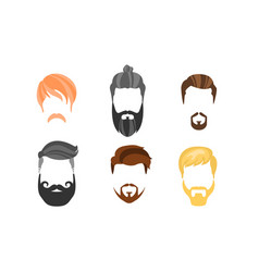 different male hairstyles beards and mustaches vector image