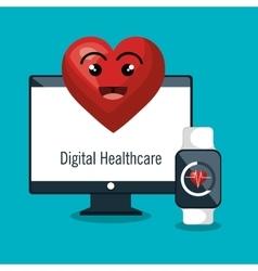 Digital healthcare monitoring cardio smart watch vector