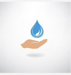 drop icon in hand silhouette on a white vector image