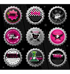 emo bottle caps vector image