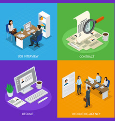 Employment recruitment isometric concept vector