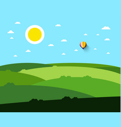 empty field landscape with sun and hot air vector image vector image