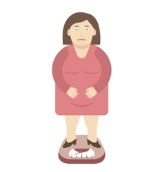Fat Woman on the Weight Scale vector image