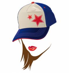 female face with usa cap vector image