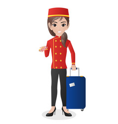 Female hotel porter carrying suitcase vector