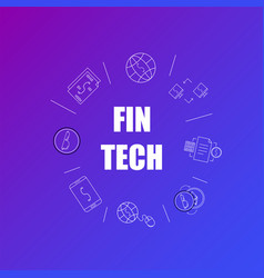 Fintech background from line icon vector