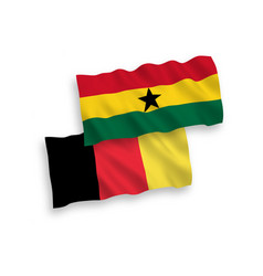 Flags belgium and ghana on a white background vector