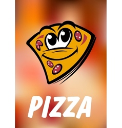 Funny cartoon pizza slice vector image