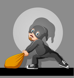Funny thief with mask in action vector