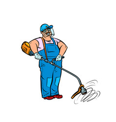 Gardener with manual lawn mower vector