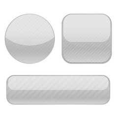 gray buttons collection of shiny 3d icons vector image