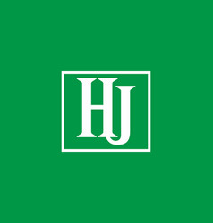 green white hj initial letter in square vector image