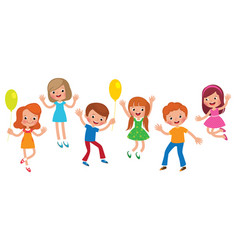 group of jumping children isolated on white vector image