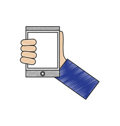hand with tablet device isometric icon vector image