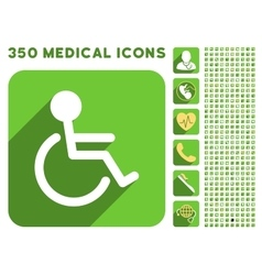 Handicapped Icon and Medical Longshadow Icon Set vector image