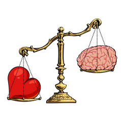 Heart and brain on scales choice concept vector