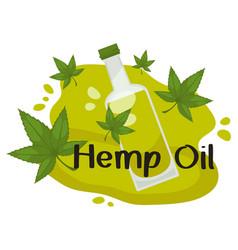 Hemp oil organic oily liquid with antioxidants vector