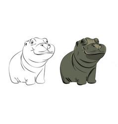 Hippopotamus bacute vector