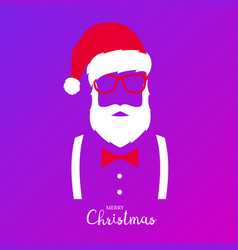 Hipster santa claus merry christmas and happy new vector