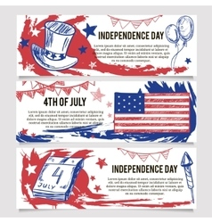 independence day banners 4th july vector image