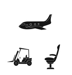 Isolated object of airport and airplane icon vector