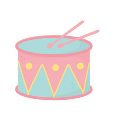 kids toy music drum with sticks icon design white vector image