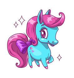 little cute blue horse with pink hair vector image