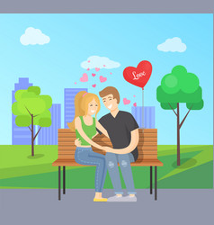 love concept merry couple sits bench vector image