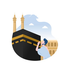 Man praying near kaaba vector