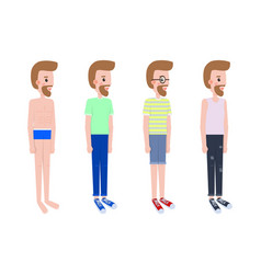 man stands in profile in casual summer outfits set vector image