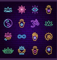 meditation neon icons vector image
