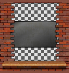 metal frame in a brick wall vector image