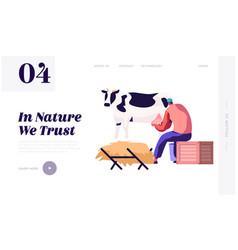 milkmaid woman in uniform milking cow milk dairy vector image