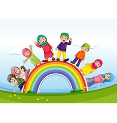Muslim family standing on rainbow vector