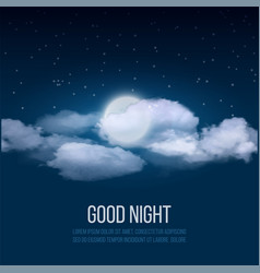 night sky background cloudy sky with moon vector image
