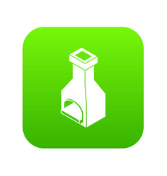 Old oven icon green vector