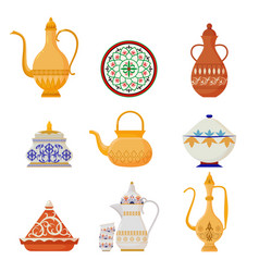 Oriental crockery with arabic script set syrian vector