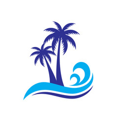 Palm wave travel logo vector