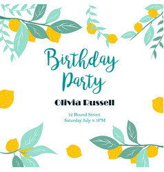 Party or birthday invitation template with lemons vector