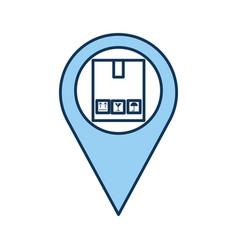 pin location with box carton delivery icon vector image