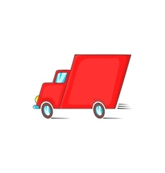 Red delivery car icon in cartoon styl vector image