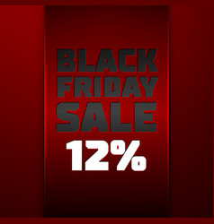 Red ribbon with black friday sale twelve percent vector